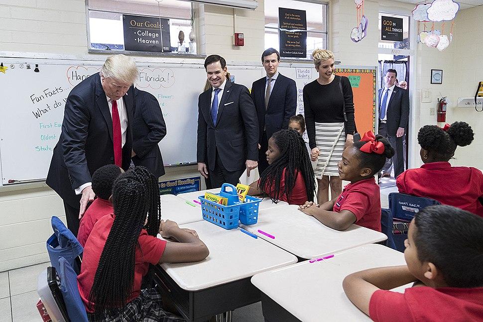 Donald Trump, Marco Rubio, Jared Kushner, and Ivanka Trump visit a fourth grade classroom, March 2017