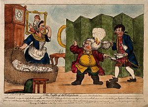 Doctor Slop - Coloured etching of Dr. Slop with his wig on fire angrily gesticulating to Susannah, who holds her nose near the wounded baby.