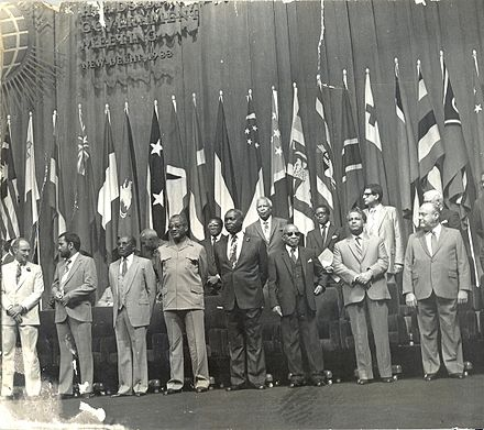 Mugabe was in attendance at the Commonwealth Heads of Government Conference in New Delhi, 1983. Dr Banda attending the Commonwealth Heads of Government Conference in New Dheli, November 1983.jpg
