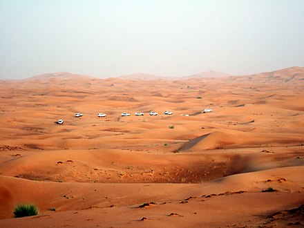 A view of the desert landscape on the outskirts of Dubai Dunebashing group Dubai.jpg
