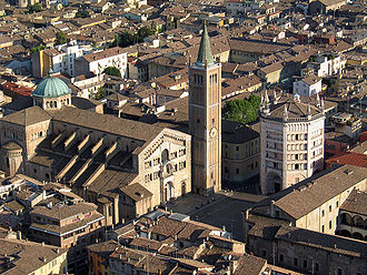 Parma Cathedral - Aerial view of Parma Cathedral with its bell tower