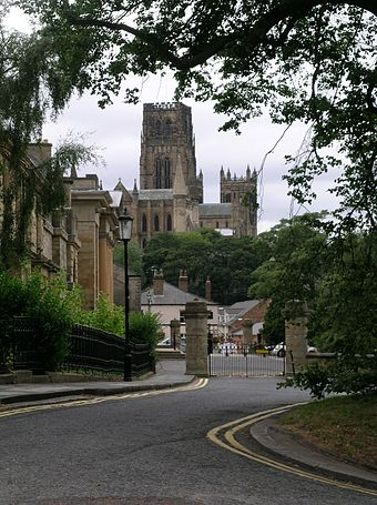 Durham Cathedral from Elvet Durham Crown Court and Cathedral.JPG