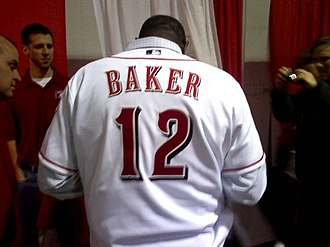 Dusty Baker - Dusty Baker sporting his new Reds jersey at RedsFest 2007.
