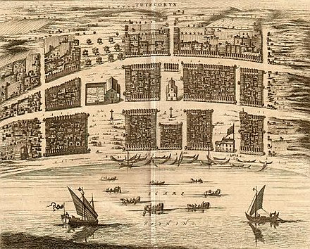 View of the Dutch port in Thoothukudi, in 1752 Dutch Tuticorin.jpg