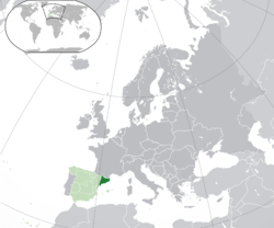 Location of Catalonia within Spain and Europe.