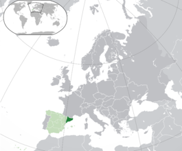 Map of Catalonia in Europe