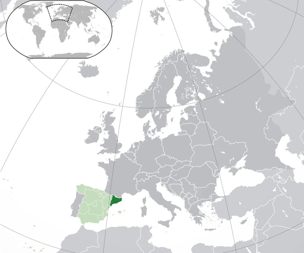 Location of Catalonia(dark green) –in Europe(green &dark grey) –in Spain(green)
