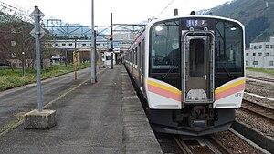 Jōetsu Line - An E129 series EMU at Echigo-Nakazato Station in April 2016