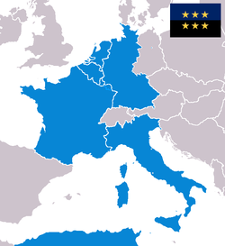 Founding members of the ECSC: Belgium, France, Italy, Luxembourg, the Netherlands and West Germany (Algeria was an integral part of the دؤردونجو فرانسه جومهوریتی)