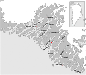 Eastern Settlement - Map of the eastern Norse settlement in medieval Greenland. The area is within the current municipality of Kujalleq. The known major farms and churches are identified, as well as some probable geographical names.