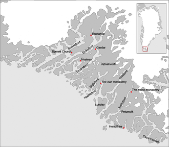 Norse colonization of North America - A map of the Eastern Settlement on Greenland, covering approximately the modern municipalities of Qaqortoq, Narssaq and Nanortalik.  Eiriksfjord (Erik's fjord) and his farm Brattahlid are shown, as is the location of the bishopric at Gardar.