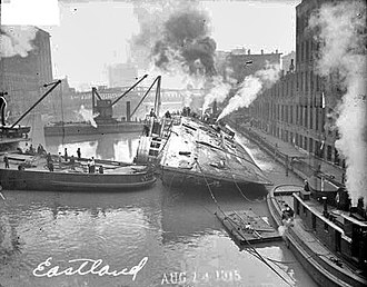 SS Eastland - Eastland being righted after the disaster.
