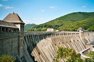 A recent photograph of the Eder dam. Note the missing sluice-gate holes on the left, which were not replaced after the attacks.
