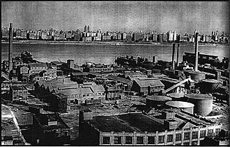 Edgewater, New Jersey - 1930 Fortune magazine photo of industrial and chemical operations in south Edgewater. Today this land is a Superfund site.