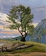 Eduard von Buchan - Patagonische Landschaft mit einzelnem Baum vor Abendhimmel.jpg