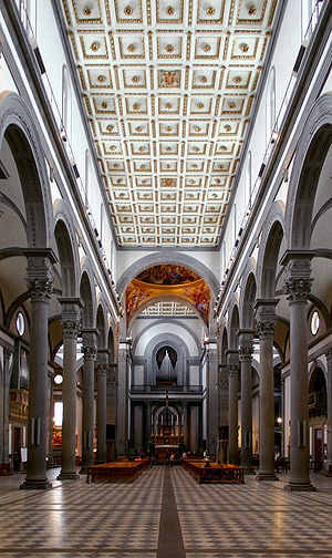 San Lorenzo, Florence - Interior looking towards the high altar.