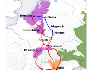 Spanish Road - Spanish Road: Spanish possessions in orange and purple, Austria in Green. Main road is in red, along the Rhine, also in blue.