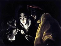 El Greco - Allegory, Boy Lighting Candle in Company of Ape and Fool (Fábula).JPG