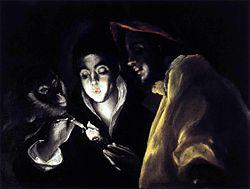 El Greco - Allegory, Boy Lighting Candle in Company of Ape and Fool (Fábula).JPG