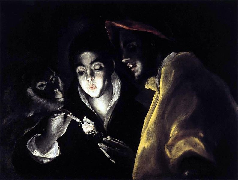 File:El Greco - Allegory, Boy Lighting Candle in Company of Ape and Fool (Fábula).JPG