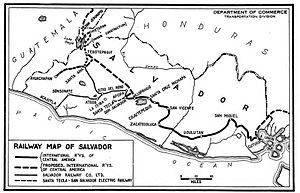 Rail transport in El Salvador - Rail map as of 1925