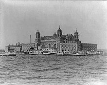 A black and white photo of Ellis Island in 1905