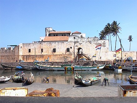 The Portuguese-built Elmina Castle was purchased by Britain in 1873. Also known as St. George Castle, it is now a World Heritage Site Elmina slave castle.jpg