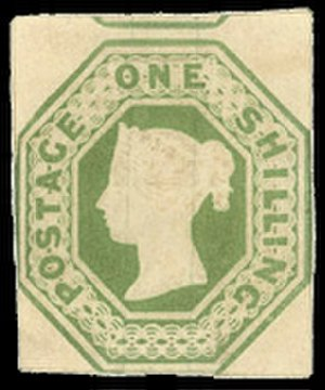 Alternative investment - A British 1 shilling embossed stamp, typical of the type included in an investment portfolio of stamps.