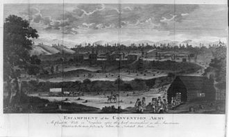 Virginia in the American Revolution - Encampment of the convention army at Charlotte Ville in Virginia. Etching from 1789.