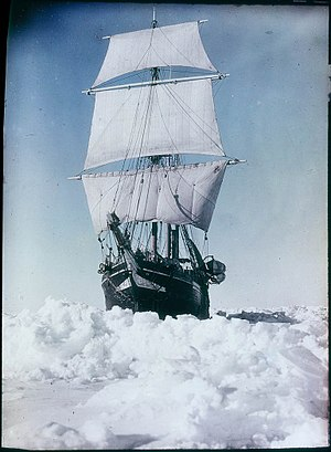 Imperial Trans-Antarctic Expedition - Endurance under full sail by Frank Hurle, paget plate, 1914–1915 State Library New South Wales a090012h