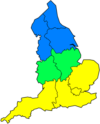 North–South divide (England) - In this image, Northern England is shown as blue, The Midlands as green, and Southern England as yellow.