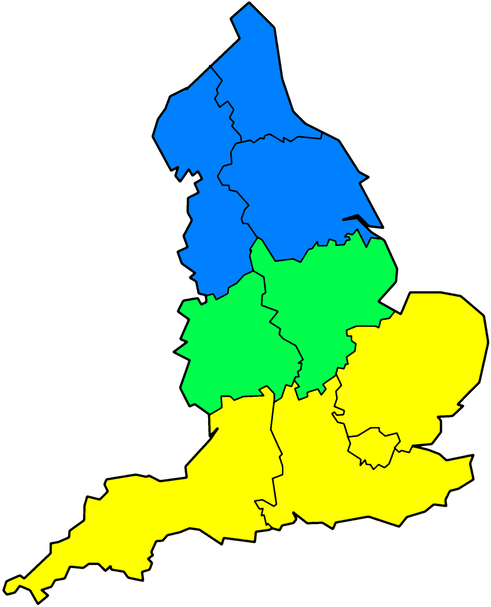In this image, one definition of Southern England is illustrated as yellow.