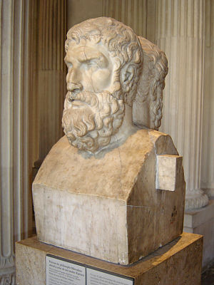 Democritus' atomist philosophy was later adopted by Epicurus (341-270 BCE). Epicurus Louvre.jpg