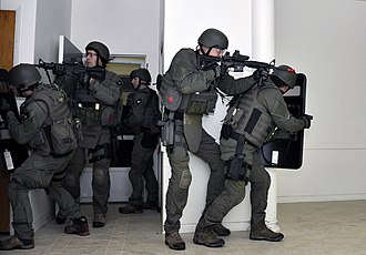 FBI SWAT agents in a training exercise FBI SWAT team Watervliet Arsenal.jpg