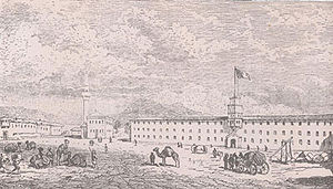 Felix Philipp Kanitz - A drawing by Felix Kanitz of the first factory in the Balkans (opened in 1833 in İslimiye, Ottoman Bulgaria, today Sliven, modern Bulgaria) by Dobri Zhelyazkov