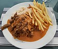 Falmouth June 2018 - Beef Strogonoff with rice & french fries (41620442925).jpg