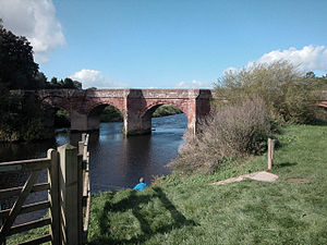 Holt, Wrexham County Borough - The bridge between Holt and Farndon upstream on the English side.