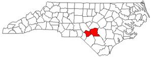 Fayetteville, North Carolina metropolitan area - Map of North Carolina highlighting the Fayetteville metropolitan area.