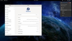 Fedora 33 with its default desktop environment (GNOME 3.38) and background.png