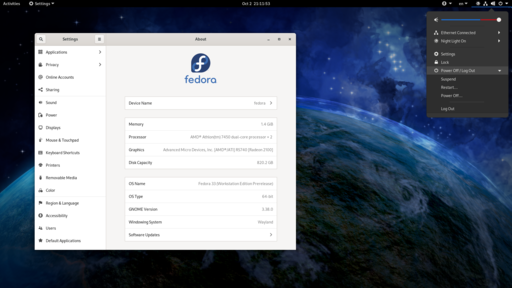 Fedora 33 with its default desktop environment (GNOME 3.38) and background