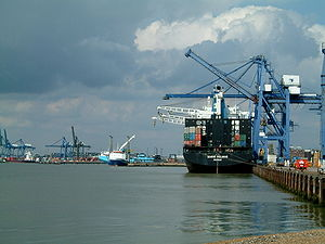 East Anglia - Port of Felixstowe – Landguard Terminal in the foreground with Trinity Terminal in the background