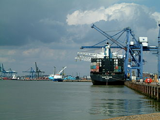 Port of Felixstowe - Landguard Terminal in the foreground with Trinity Terminal in the background