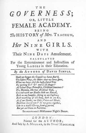 Sarah Fielding - Title page from The Governess, or The Little Female Academy (1749), by Sarah Fielding, the first full-length novel written for children.