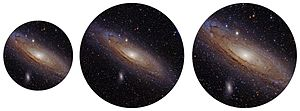 Eyepiece - Simulation of views through a telescope using different eyepieces. The center image uses an eyepiece of the same focal length as the one on the left, but has a wider apparent field of view giving a larger image that shows more area. The image on the right also has a shorter focal length, giving the same true field of view as the left image but at higher magnification.