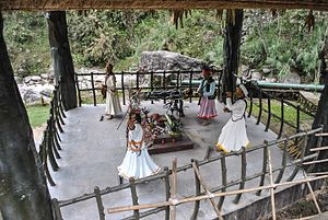 Jhākri - Statues of jhākri at Banjhakri Falls and Energy Park in Gangtok, Sikkim, India