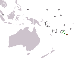 Map indicating locations of Fiji and Tonga