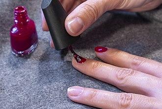 Nail polish - Fingernails before and after application of red nail polish