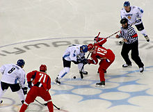Finland vs Russia in the Winter Olympics 2006 in Turin .