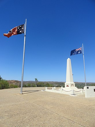 Flag of the Northern Territory - The Northern Territory and Australian flags at the war memorial at ANZAC Hill, Alice Springs