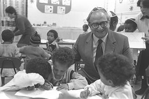 Ethiopian Jews in Israel - Minister of Education Yitzhak Navon visiting kindergarten class of Ethiopian immigrants